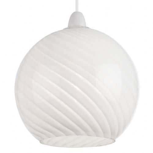 Patterned gloss white glass Pendant Light NE-LOWTHER-WH by Endon